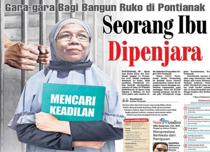 Photo of Seorang Ibu Dipenjara, Gara-gara Bagi Bangun Ruko di Pontianak