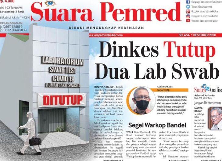Photo of Dinas Kesehatan Kalimantan Barat Tutup Dua Lab Swab